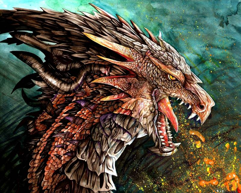 T te de dragon dessin couleurs vives image fond ecran - Dessin dragon couleur ...