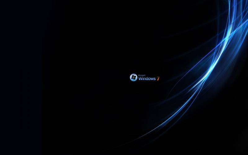 Windows seven fond ecran windows 7, raies sur la droite, logo minuscule, chiffre 7 orange