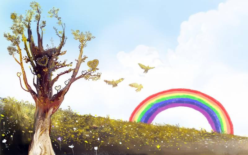 Dessin arc en ciel coeur sur arbres couleurs patel clair fond ecran tendresse