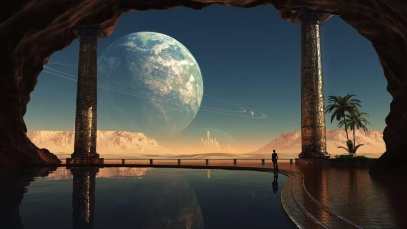 Fond Ecran Photo Montage Vie Sur Planete Vue Autre Planete Palais Luxe Piscine Ville Blanche Au Fond Fonds Ecran